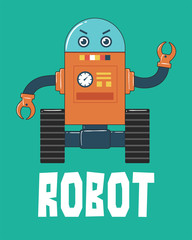 Robot with Wheels Illustration on Green Background