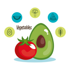 healthy food set icons