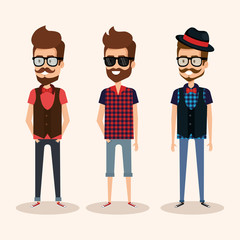 hipster style group of avatars