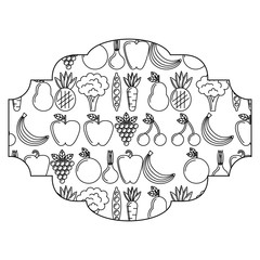 frame with fruits and vegetables pattern background vector illustration design