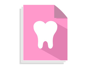 pink tooth paper sheet image vector icon