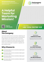 A4 Marketing Flyer template left title style 8 green color