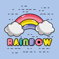 nice rainbow with cloud in the sky design
