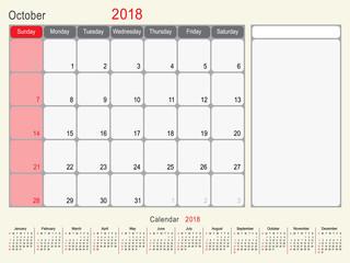 October 2018 Calendar Planner Design