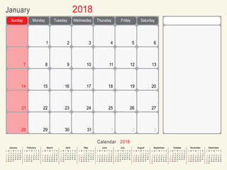 January 2018 Calendar Planner Design