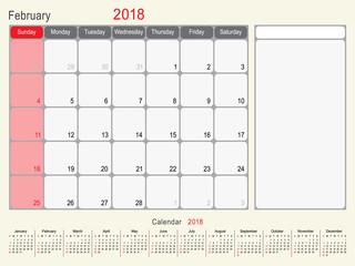 February 2018 Calendar Planner Design