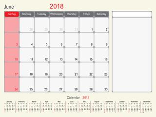 June 2018 Calendar Planner Design
