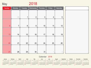 May 2018 Calendar Planner Design