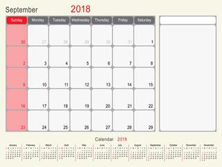 September 2018 Calendar Planner Design