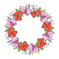 hand drawn illustrations wreath of color orchid on white background. sketch. vector eps 8.