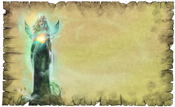 Zodiac sign illustration of Virgo as a beautiful blond woman with a glowing flower and transparent wings on the paper textured background