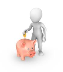 3d white man puts coin into a piggy bank.