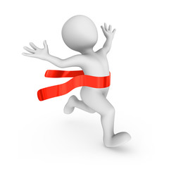 Happy 3d runner and red finishing ribbon