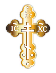 Crucifixion gold orthodox christian cross isolated on a white background Greek orthodox byzantine cross with decorative ornaments