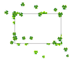 Vector frame. Abstract background in St. Patrick's day with clover leaves.