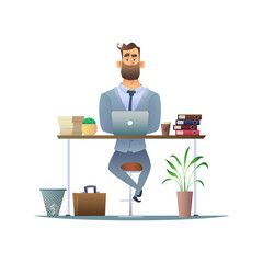 Serious bearded businessman working at the desk on laptop. Manager or employee in the workplace in the office. Business Character design