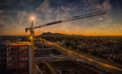 Aerial of crane sunset