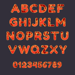 Fire alphabet font on dark background. Capital letters and numbers with flame effect