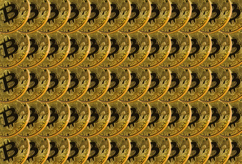 Many shiny gold bitcoin coins for background or texture