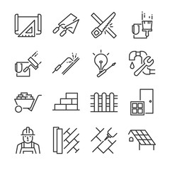Home renovation icon set. Included the icons as paint, wall, roof, saw, construction, plan, floor and more.