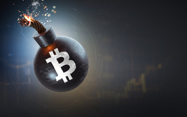 A Bitcoin sign on a burning bomb. Dark background. 3D rendering