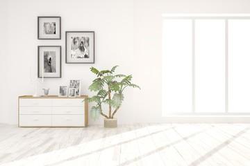 White empty room with shelf. Scandinavian interior design. 3D illustration