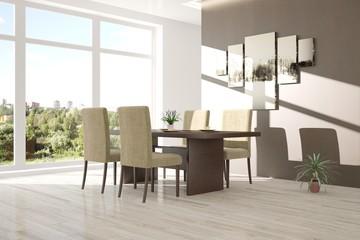 White dinner room with summer landscape in window. Scandinavian interior design. 3D illustration