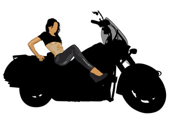 Wall Mural - Motorcycl and beauty women on white background