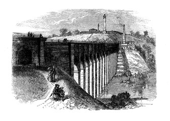 Vintage engraving of High Bridge,originally a stone arch bridge built in 1848 as part of Croton Aqueduct, in New York City - Bronx,140 ft.(43 mt) high on the Harlem River