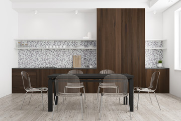 White and dark wooden dining room