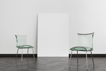 Two green glass chairs, poster