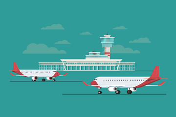 Plane at Airport arrivals and departures travel, Vector Illustration