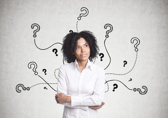Pensive African American businesswoman, questions