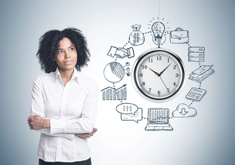 African American businesswoman, time management