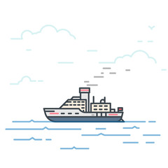 Motor vessel ship with steam pipe in the sea. Trendy line vector illustration. Big boat on water. Oceanic ship traveling concept. Water transport.