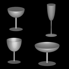3d water wine drinking glasses vector design
