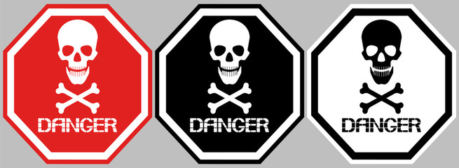 A set of danger signs. Octagonal poster, skull and bones, different color options.