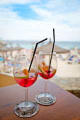 Drinks on the beach in a cocktail bar