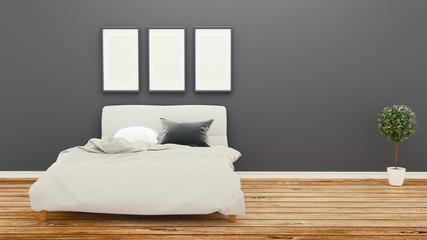 Empty room, bed room dark wall on wooden floor .3D rendering