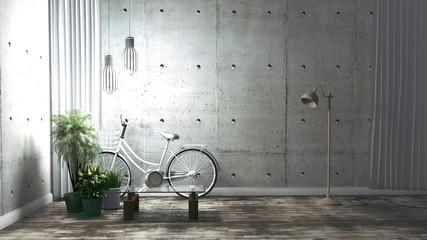 Empty - Living Room Loft Style Interior Design. 3D Rendering Fototapete