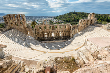 Printed kitchen splashbacks Athens Ruins of Odeon of Herodes Atticus in the Acropolis of Athens, Attica, Greece