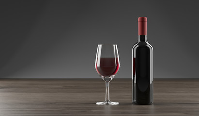 3D Rendering Of Stylish Wine Bottle And Glass Full OF Wine On Dark Oak Wooden Surface And Empty Space