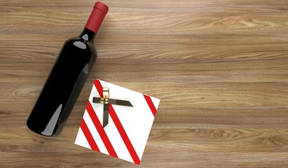 3D Rendering  Red Wine Bottle With Gift Box On Wood Surface With Empty Space St.Valentine's Day