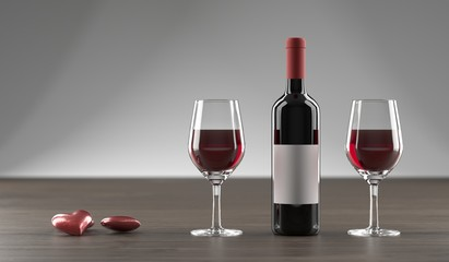3D Rendering Of Stylish Wine Bottle, Hearts And Glass Full OF Wine On Dark Oak Wooden Surface And Empty Space