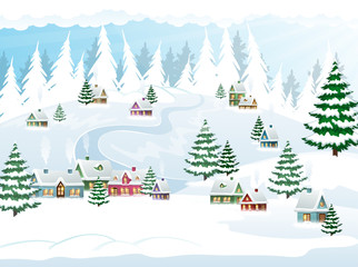 Winter Christmas snow scene