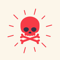 danger icon with skull