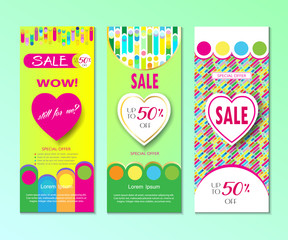 Seasonal sale banners set colorful dynamic shapes, lines hearts, Valentine`s Day, Mothers Day, Woman`s Day, Summer, Spring Sales graphic modern design, art, print, fashion dress sale vector template.