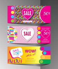 Seasonal sale banners set colorful dynamic shapes, lines hearts, Valentine`s Day, Mothers Day, Woman`s Day, Summer, Spring Sales graphic modern design, art, print, fashion dress sale vector