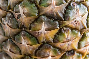 Texture of ripe raw pineapple macro closeup
