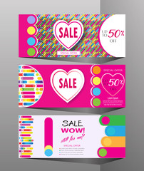 Holiday seasonal sale banners set colorful dynamic shapes, lines hearts, Valentine`s Day, Mothers Day, Woman`s Day, Summer, Spring Sales graphic modern design, art, print, fashion dress sale vector
